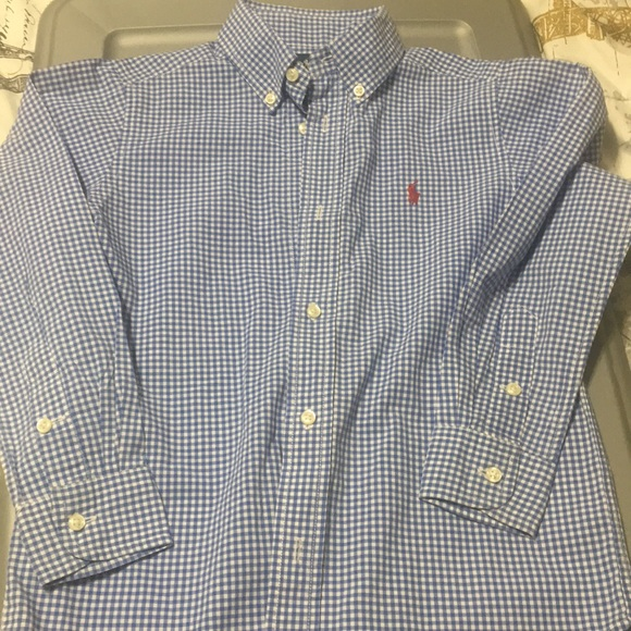 52ebb9a1 Ralph Lauren Shirts & Tops | Boys Gingham Cotton Poplin Shirt 6 ...
